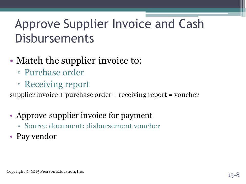 Approve Supplier Invoice and Cash Disbursements
