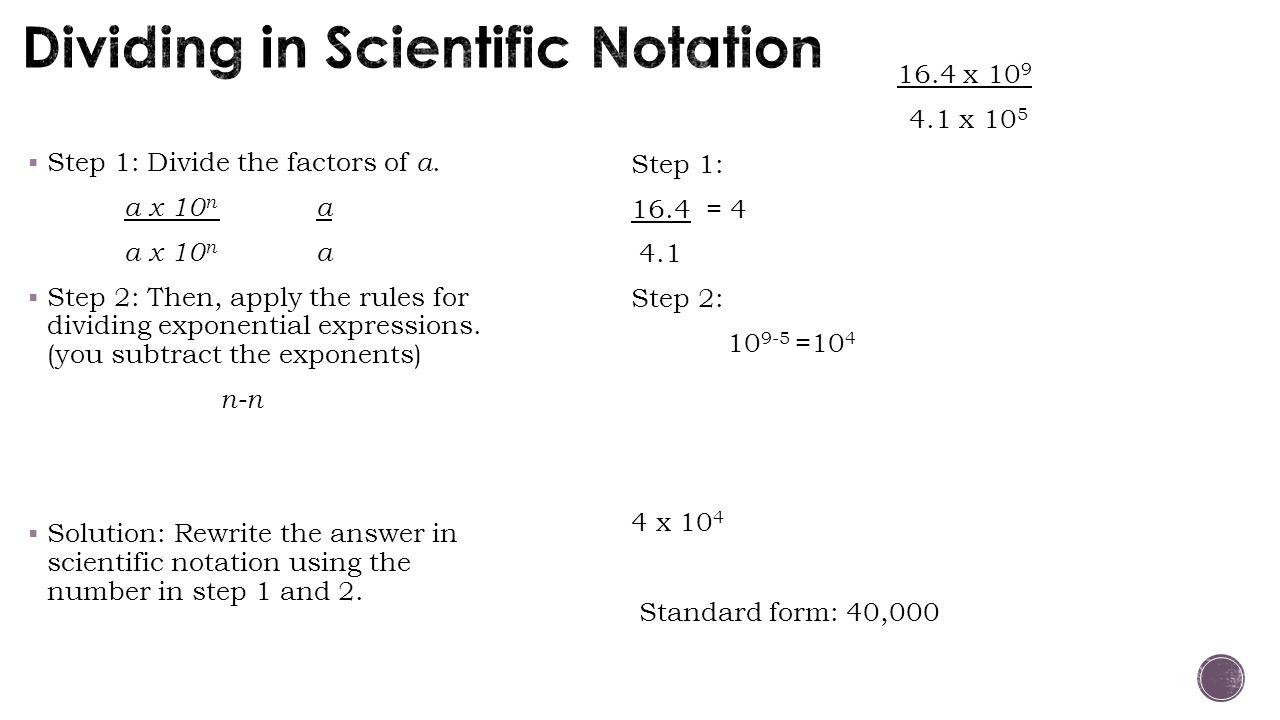 Dividing in Scientific Notation