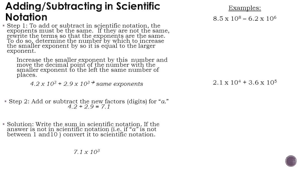 Adding/Subtracting in Scientific Notation