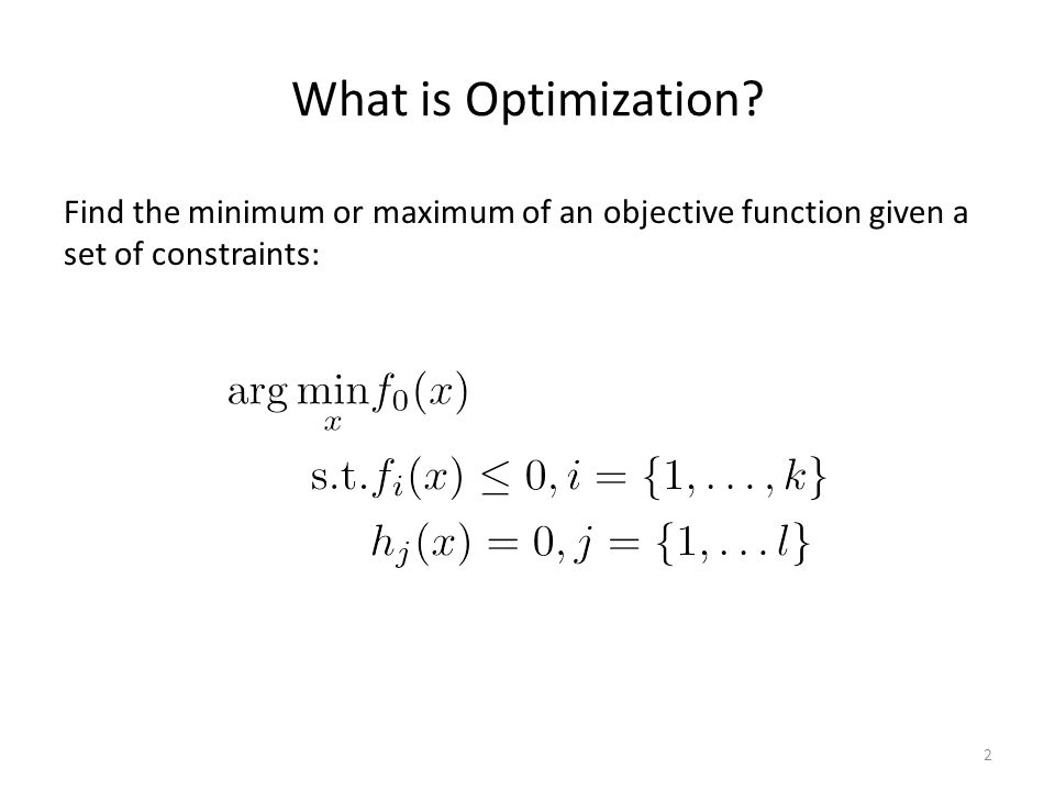 What is Optimization.