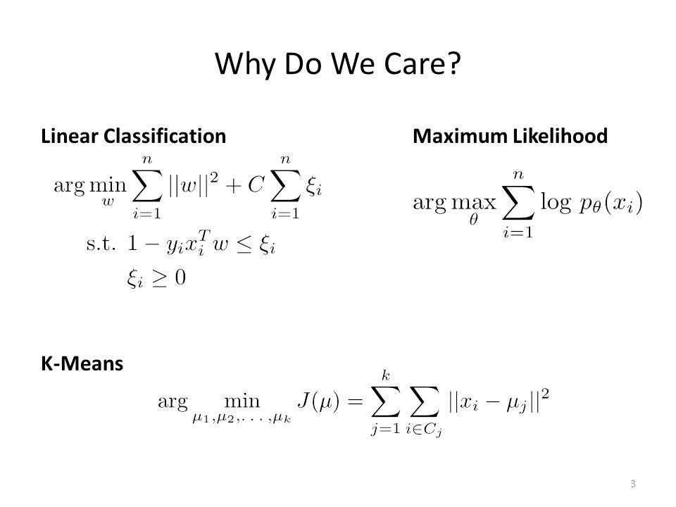 Why Do We Care Linear Classification Maximum Likelihood K-Means