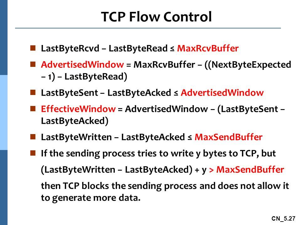 TCP Flow Control LastByteRcvd − LastByteRead ≤ MaxRcvBuffer
