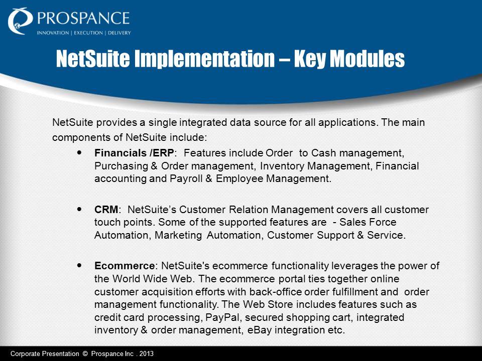 NetSuite Implementation – Key Modules