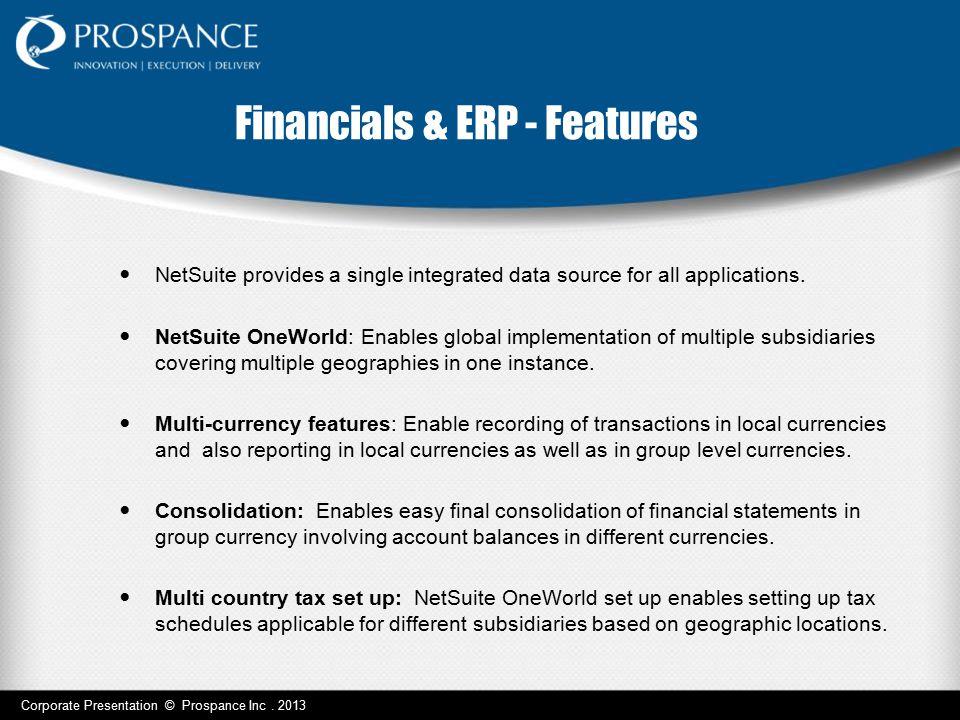Financials & ERP - Features