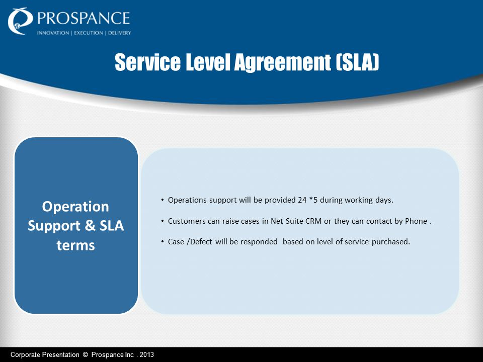 Operation Support & SLA terms