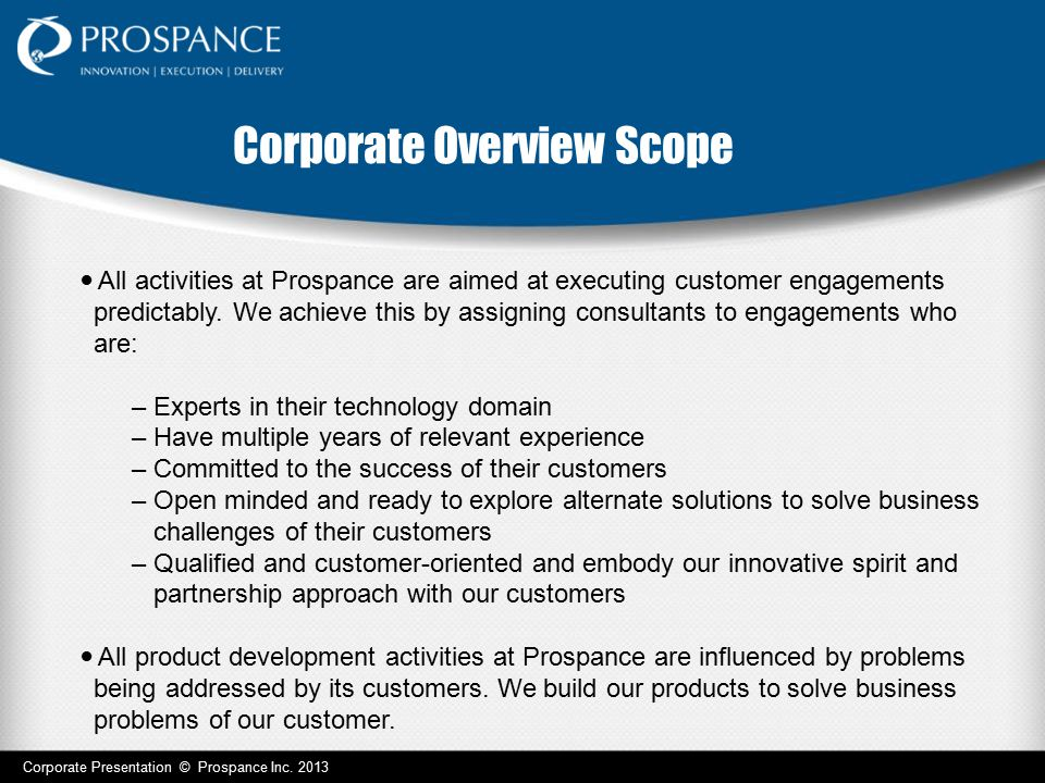 Corporate Overview Scope
