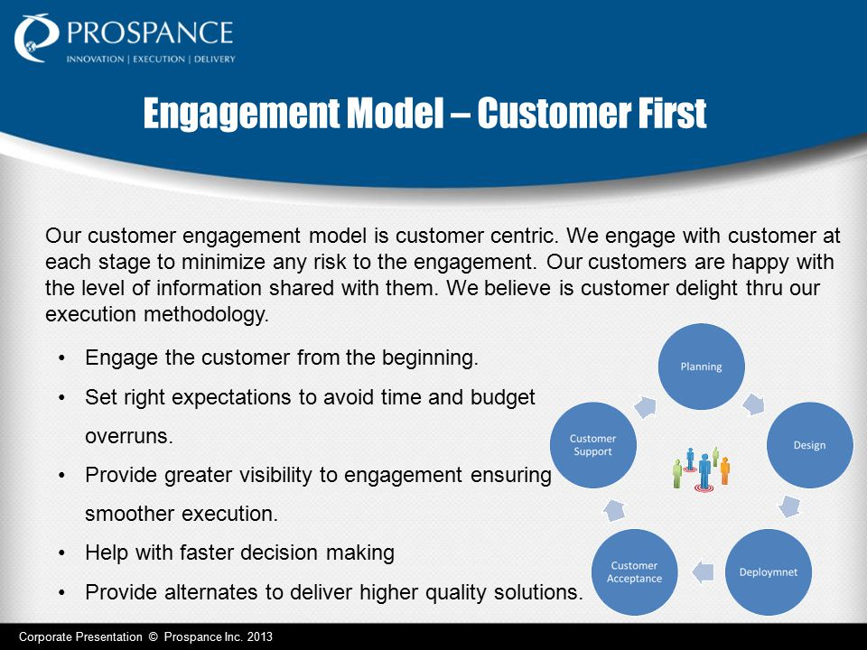 Engagement Model – Customer First