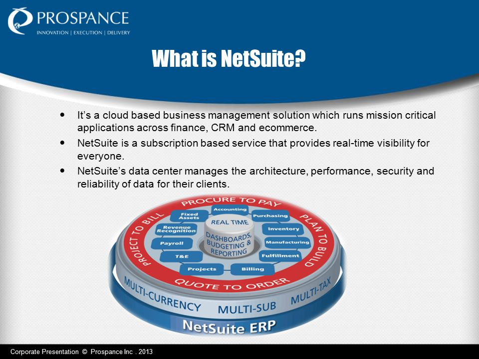 What is NetSuite It's a cloud based business management solution which runs mission critical applications across finance, CRM and ecommerce.