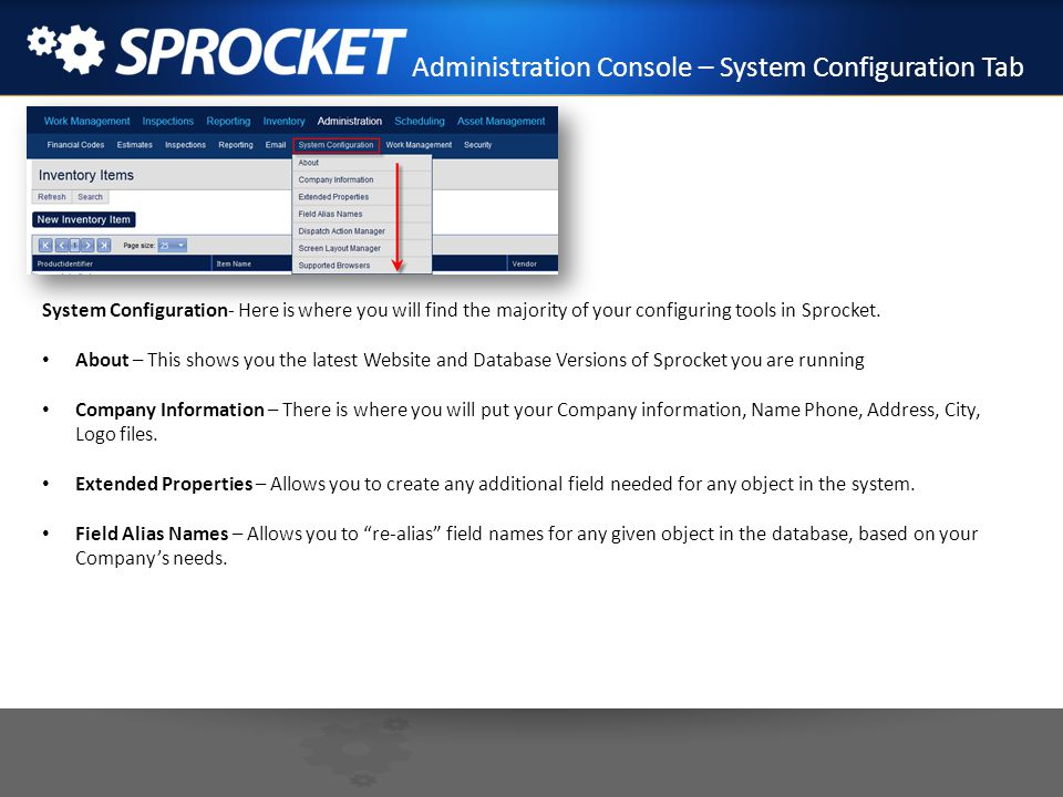Administration Console – System Configuration Tab