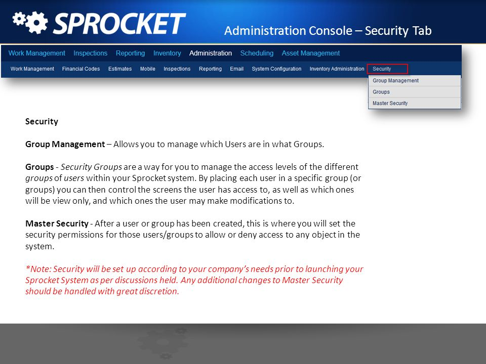 Administration Console – Security Tab