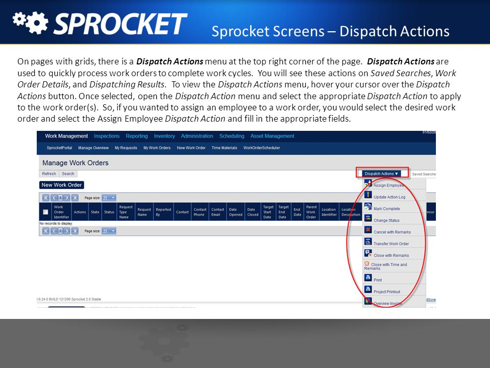 Sprocket Screens – Dispatch Actions