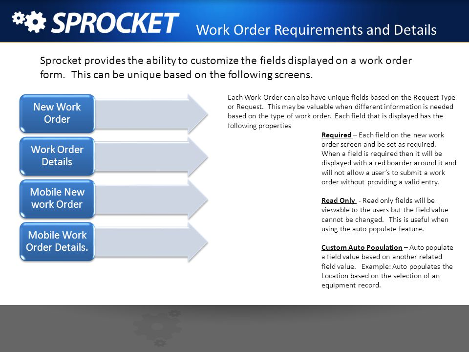 Work Order Requirements and Details