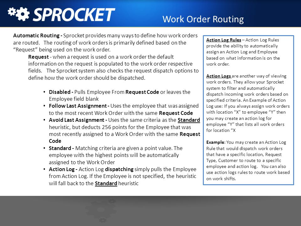 Work Order Routing