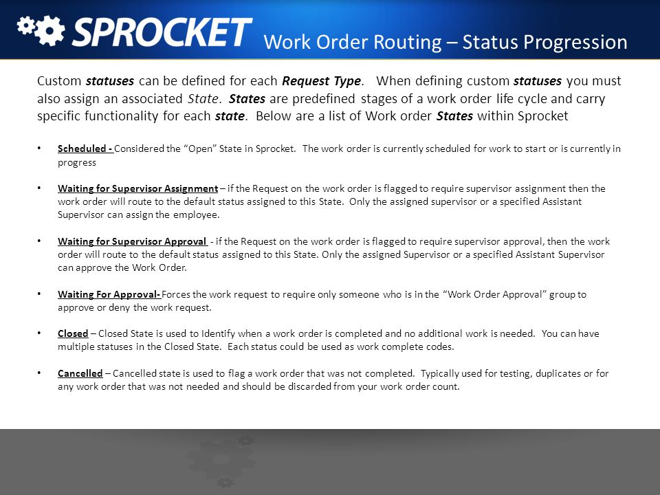 Work Order Routing – Status Progression