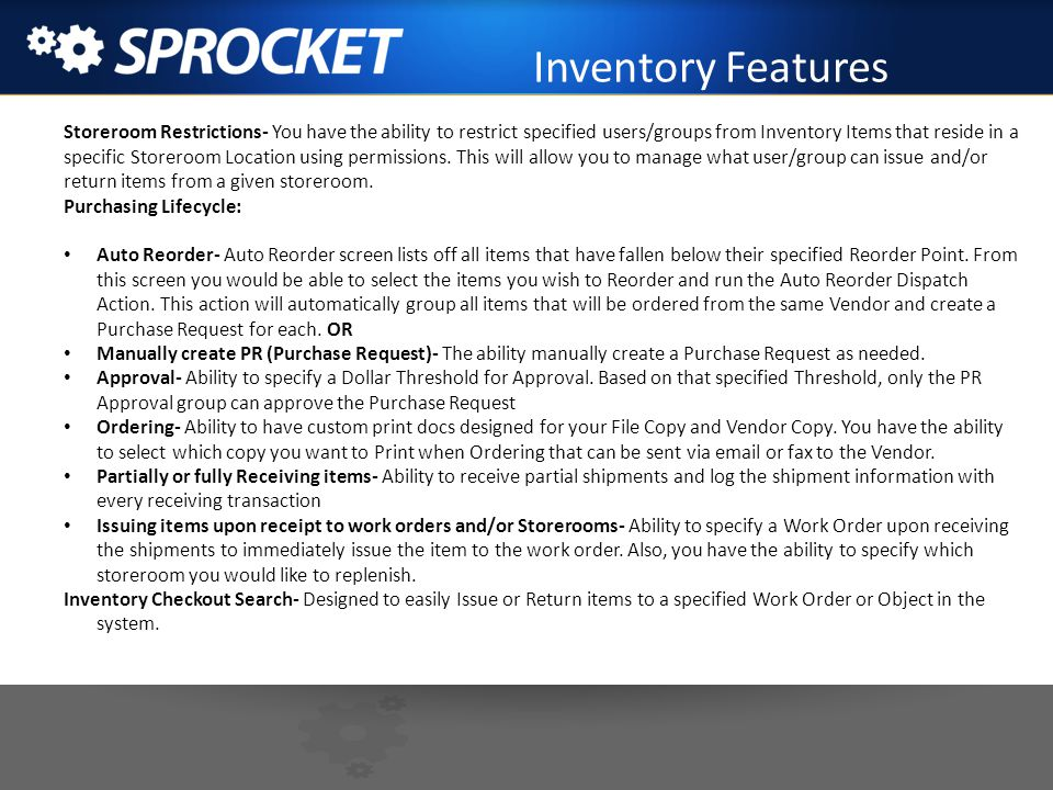 Inventory Features