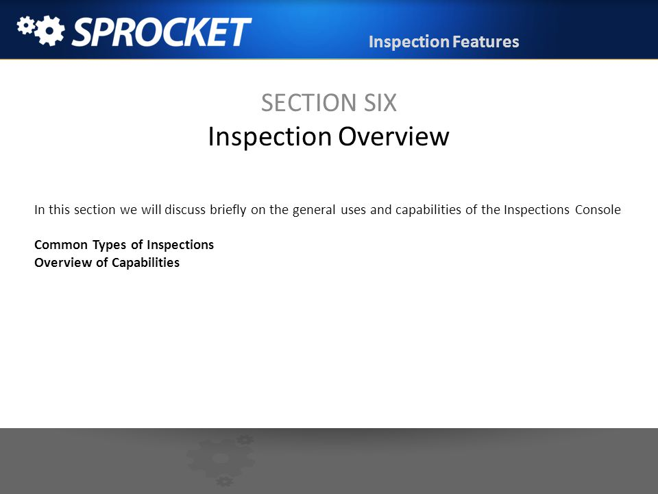 SECTION SIX Inspection Overview