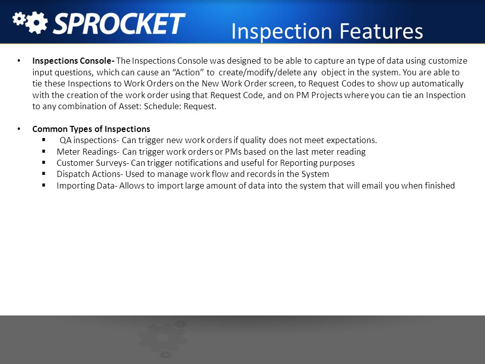 Inspection Features