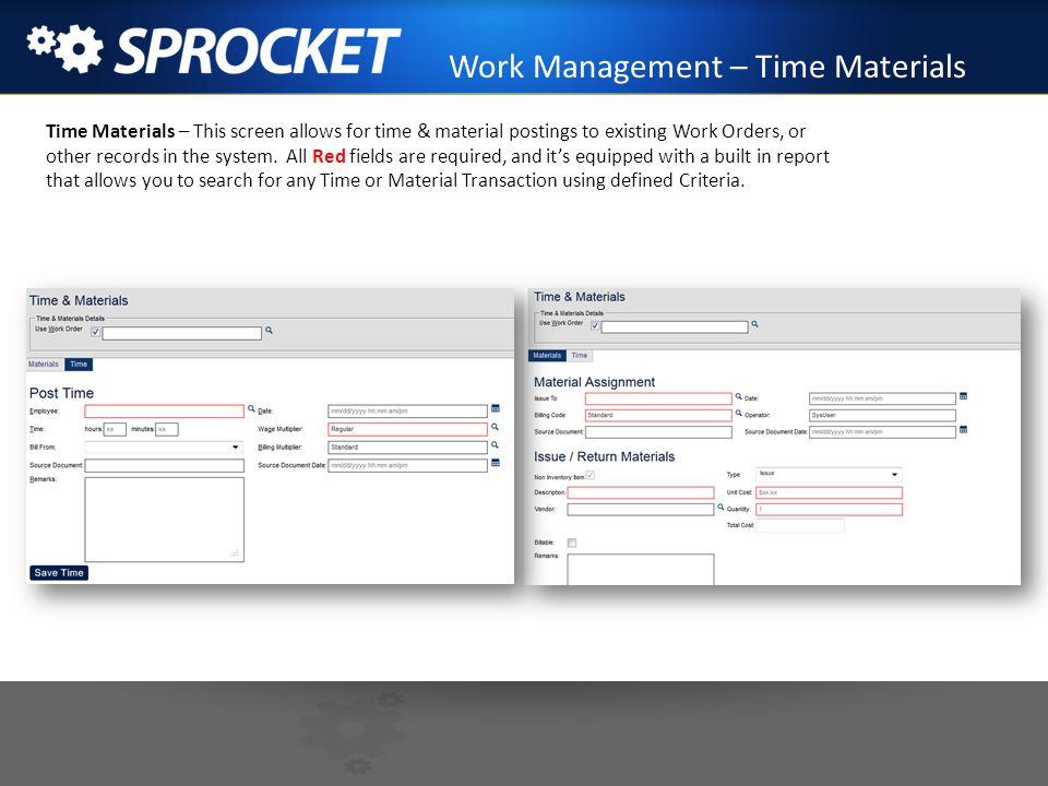 Work Management – Time Materials