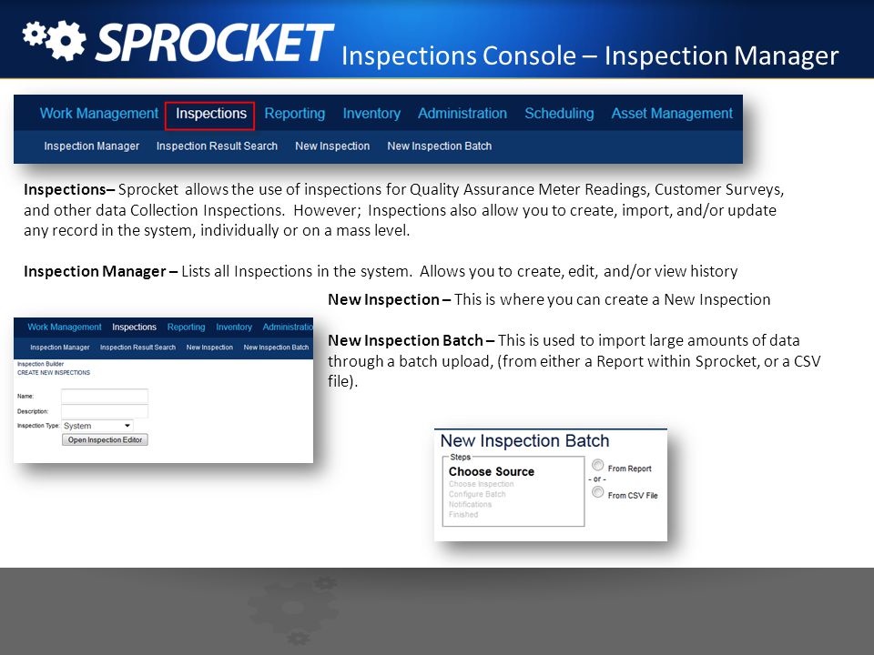 Inspections Console – Inspection Manager