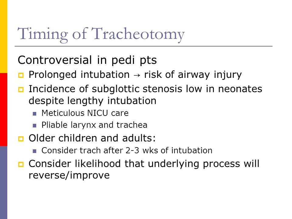 Timing of Tracheotomy Controversial in pedi pts