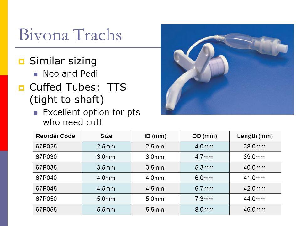Bivona Trachs Similar sizing Cuffed Tubes: TTS (tight to shaft)