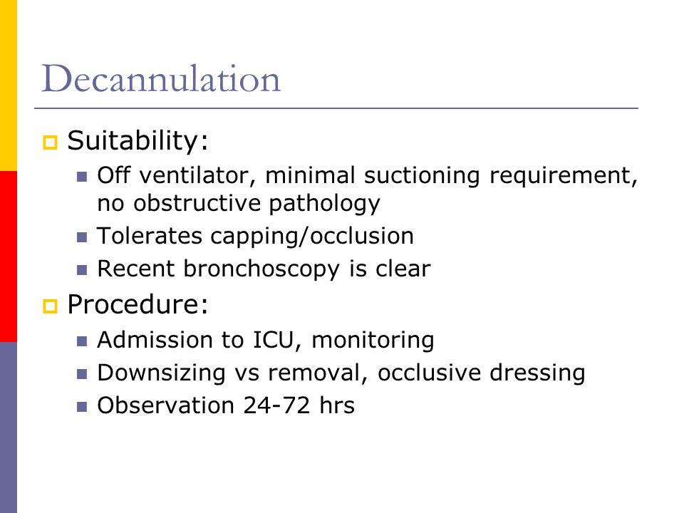 Decannulation Suitability: Procedure: