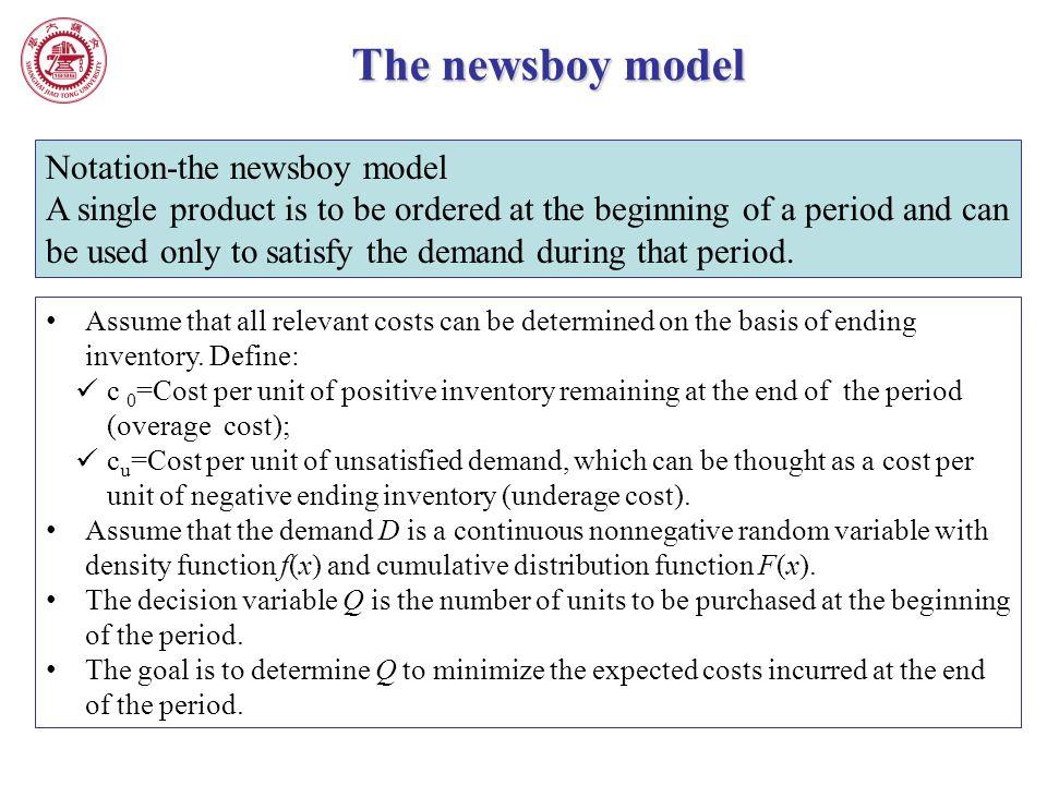 The newsboy model Notation-the newsboy model