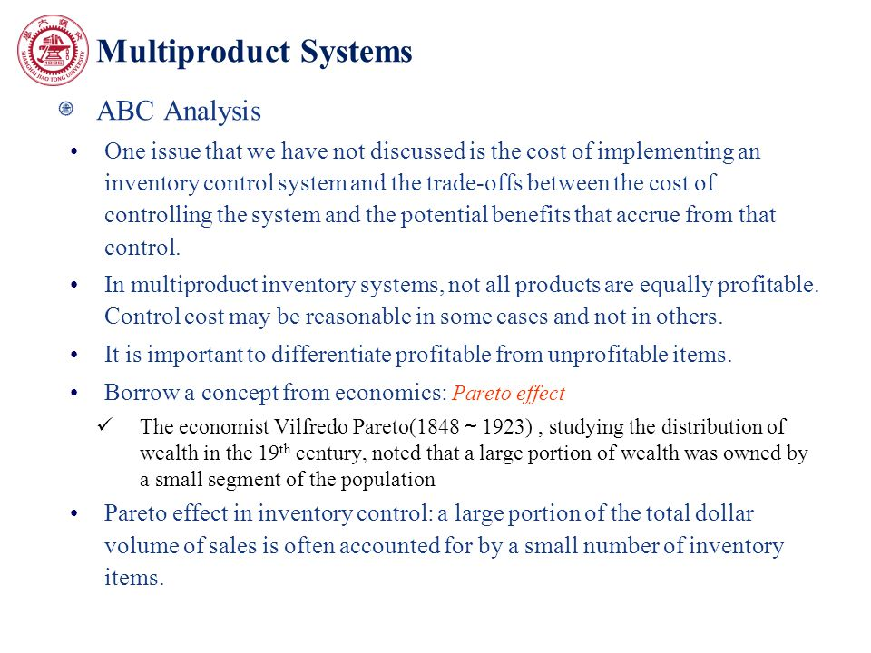 Multiproduct Systems ABC Analysis