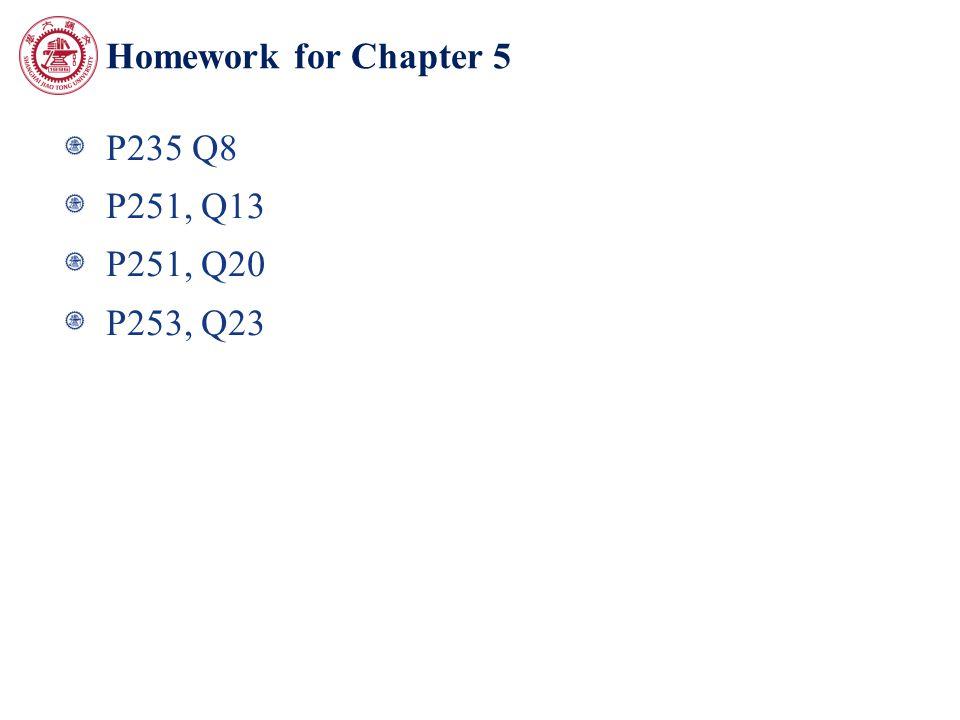 Homework for Chapter 5 P235 Q8 P251, Q13 P251, Q20 P253, Q23