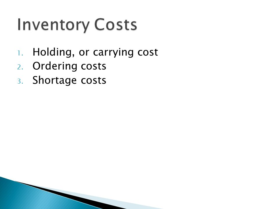 Inventory Costs Holding, or carrying cost Ordering costs
