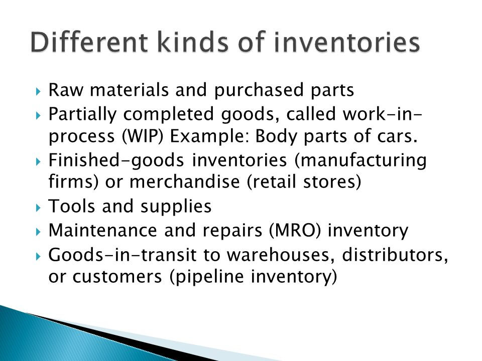 Different kinds of inventories