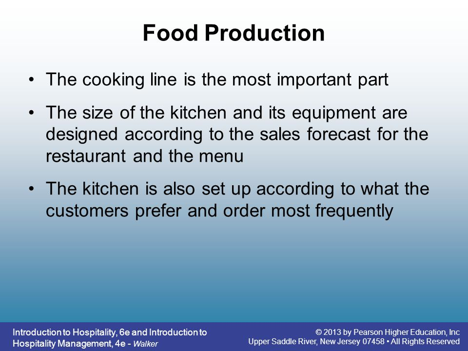 Food Production The cooking line is the most important part