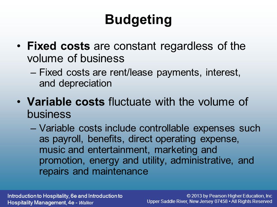 Budgeting Fixed costs are constant regardless of the volume of business. Fixed costs are rent/lease payments, interest, and depreciation.