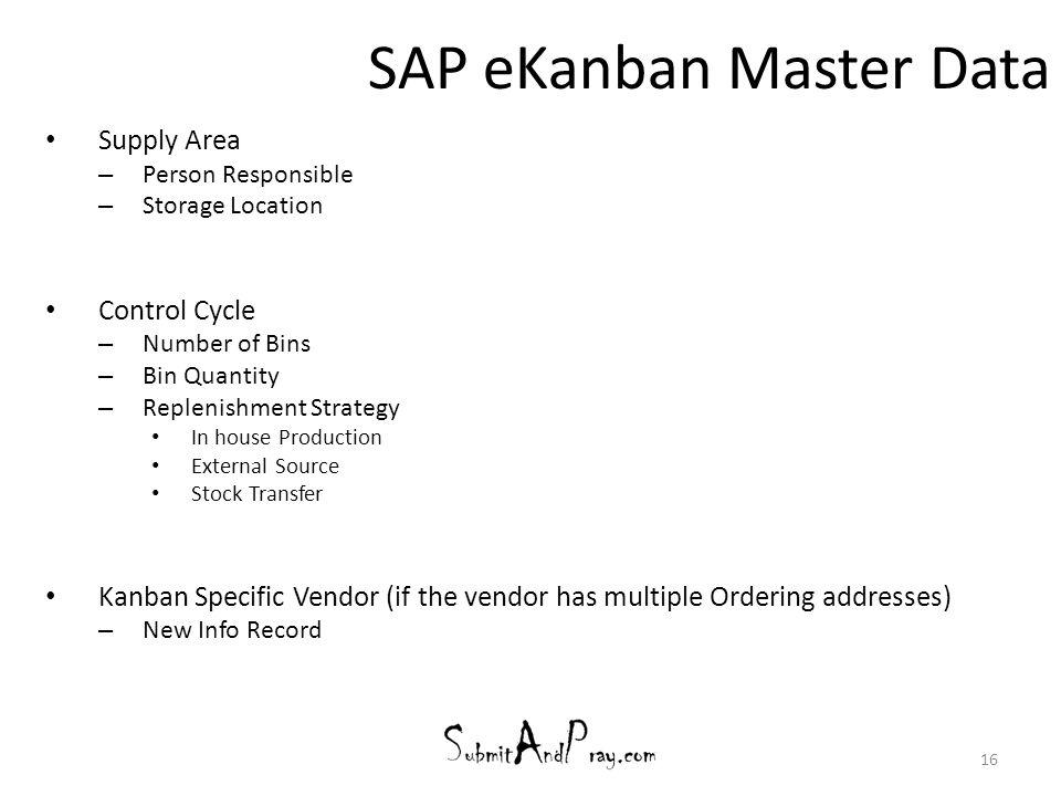 SAP eKanban Master Data
