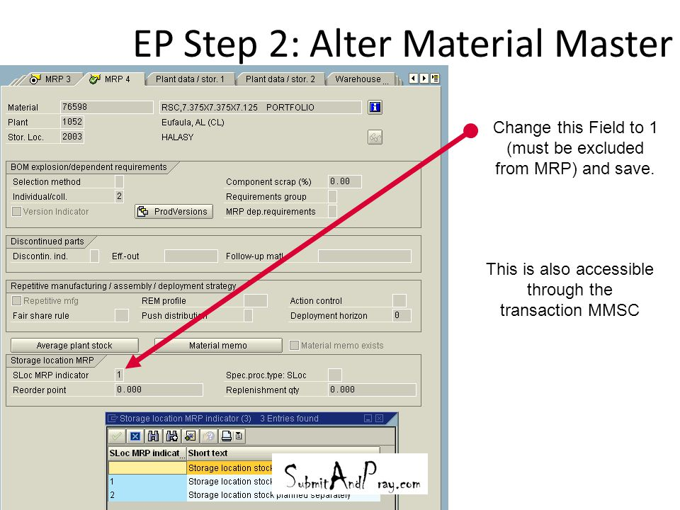 EP Step 2: Alter Material Master