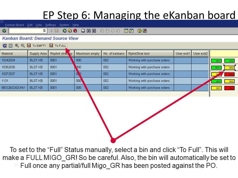 EP Step 6: Managing the eKanban board