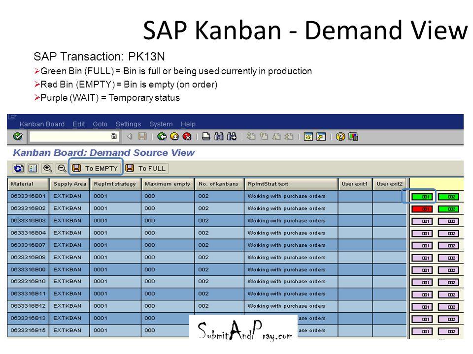 SAP Kanban - Demand View