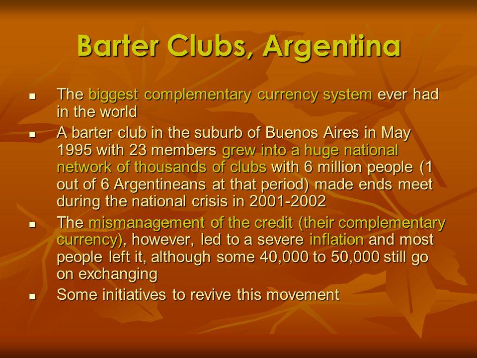 Barter Clubs, Argentina