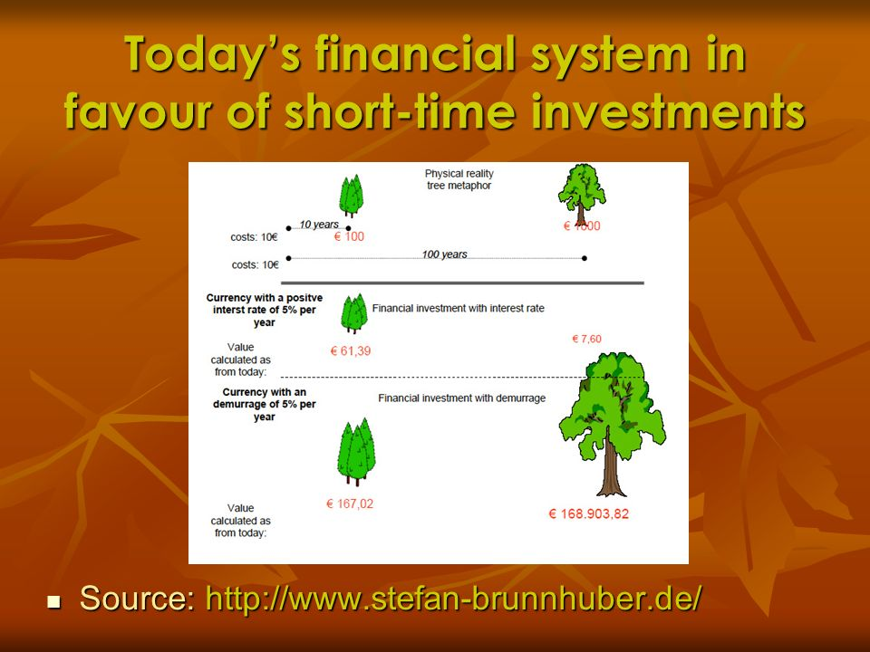 Today's financial system in favour of short-time investments