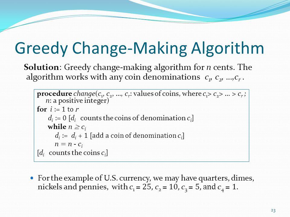 Greedy Change-Making Algorithm