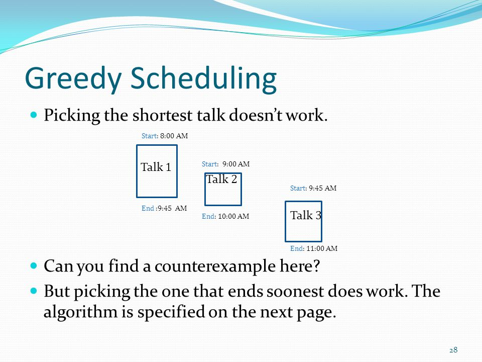 Greedy Scheduling Picking the shortest talk doesn't work.