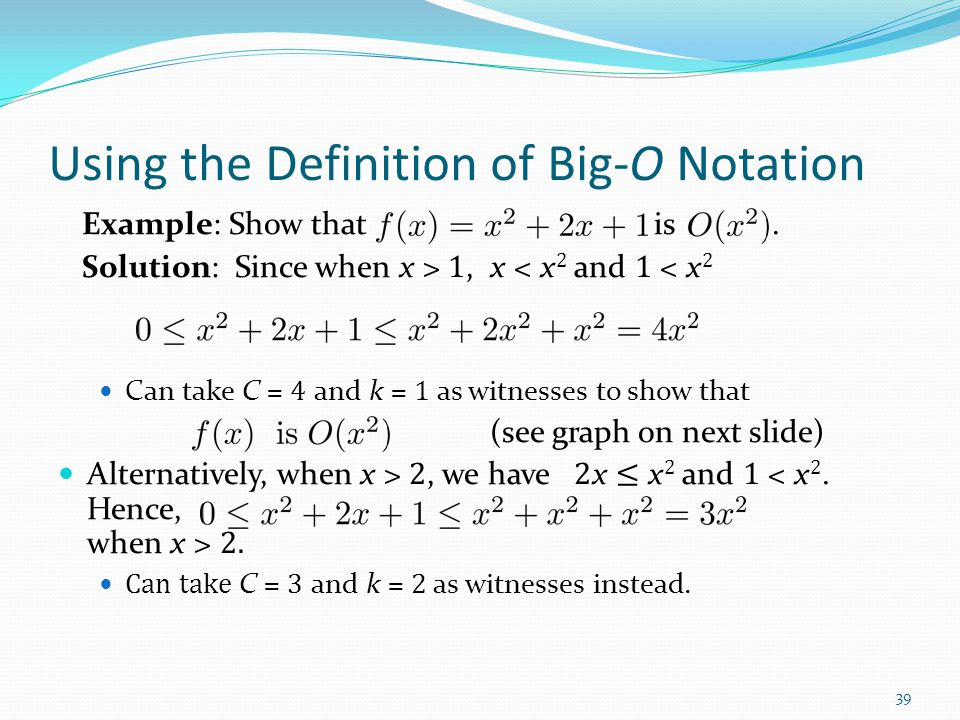 Using the Definition of Big-O Notation