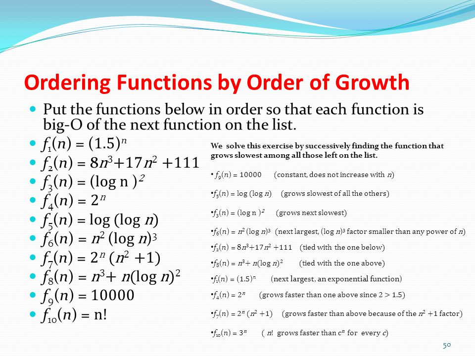 Ordering Functions by Order of Growth