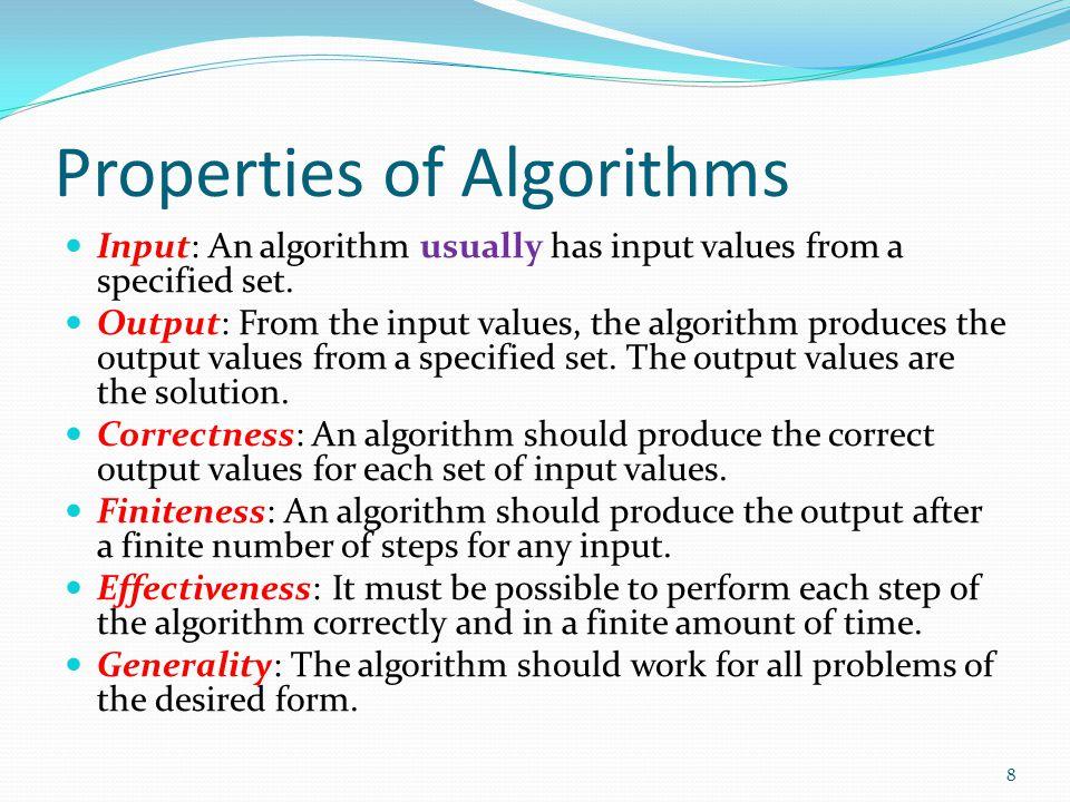 Properties of Algorithms