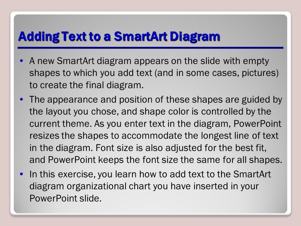 Adding Text to a SmartArt Diagram