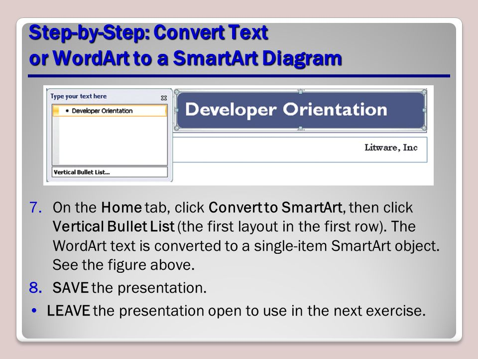 Step-by-Step: Convert Text or WordArt to a SmartArt Diagram