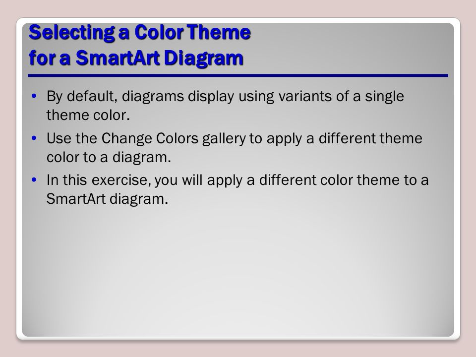 Selecting a Color Theme for a SmartArt Diagram