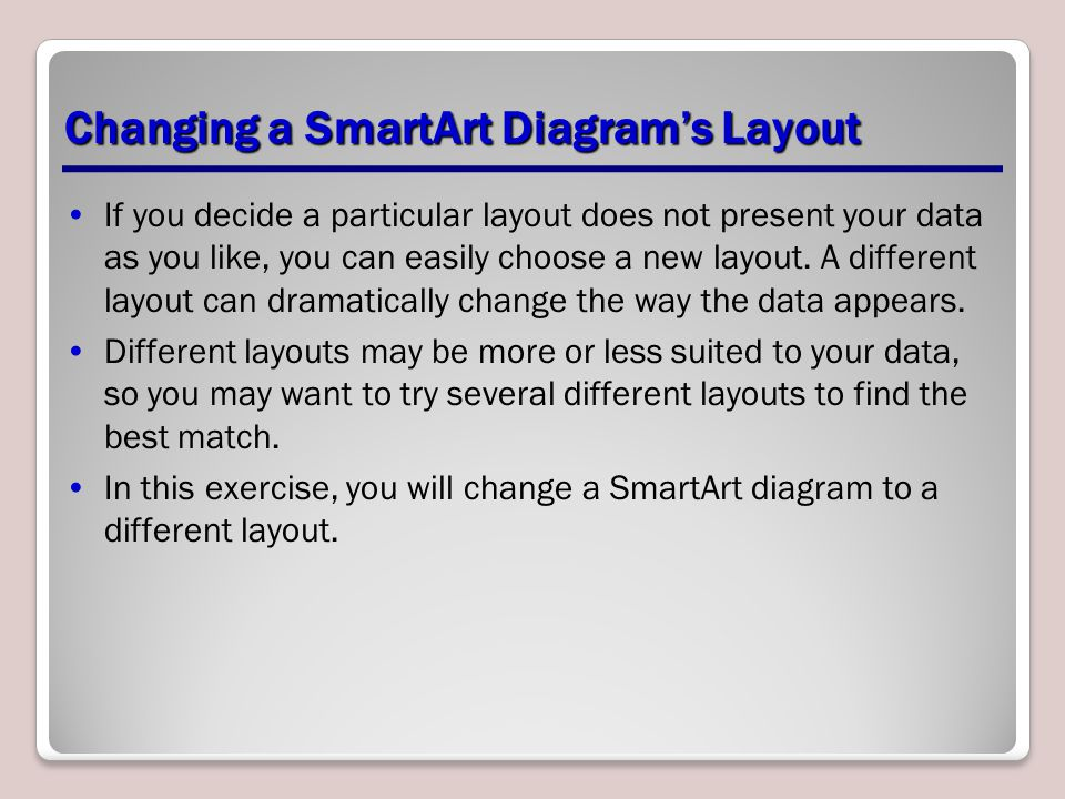 Changing a SmartArt Diagram's Layout