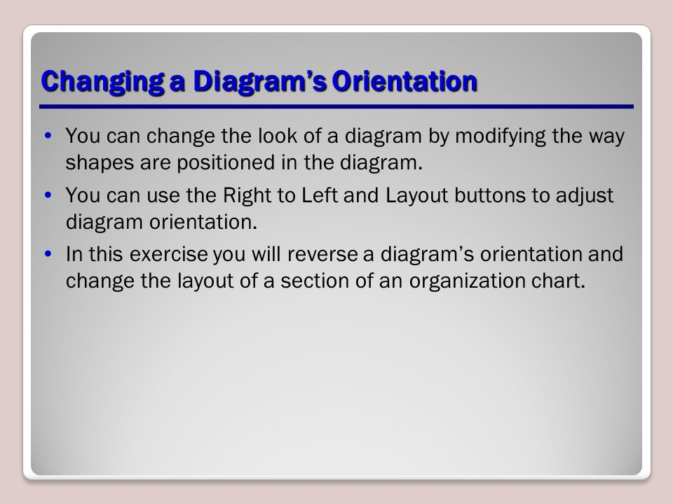 Changing a Diagram's Orientation