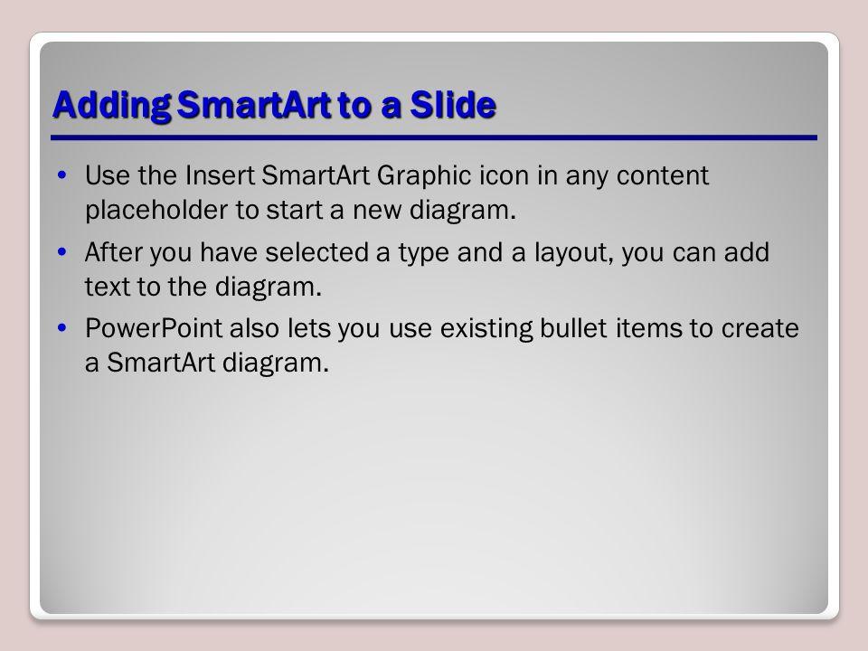 Adding SmartArt to a Slide